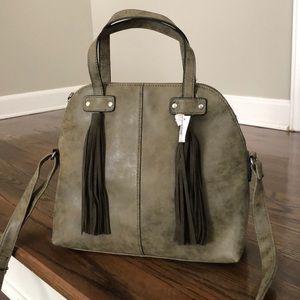Handbags - Olive green double tassel satchel